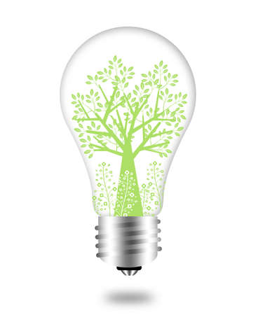 Eco Friendly Bulb with Green Tree and Leaves Illustration Stock Photo