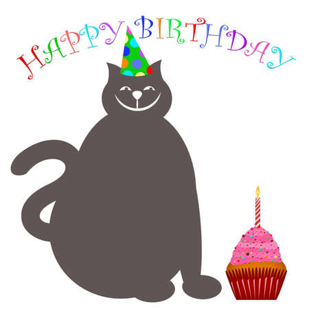 gray cat: Happy Birthday Cat with Hat Cupcake and Candle Illustration Stock Photo