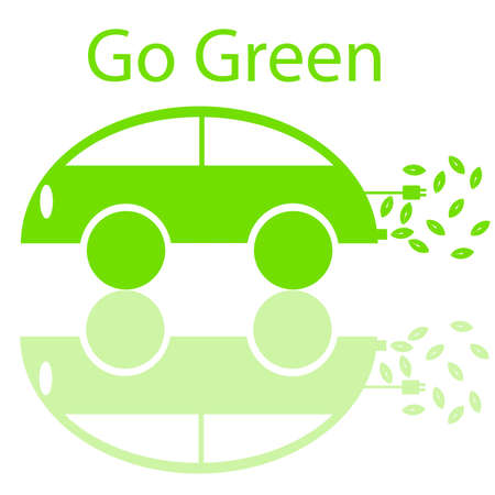 Go Green Eco Friendly Electric Car with Electrical Plug and Leaf Illustration illustration