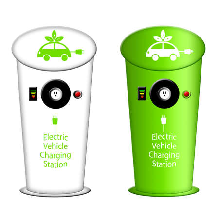 プラグ コンセントとインストルメント パネルの図と駅を充電する電気自動車
