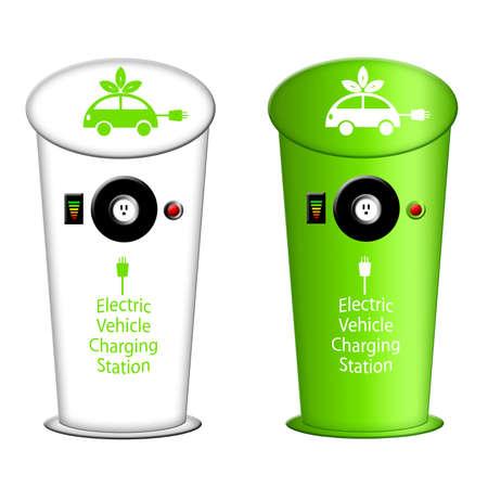 Elektrische auto laadstation met stopcontact en instrumentenpaneel Illustratie