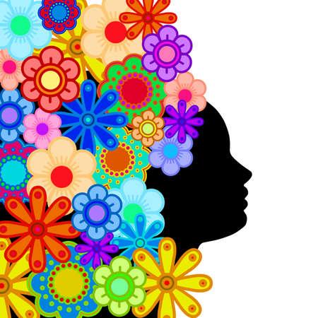 カラフルな花の抽象的なイラストの髪を持つ女性顔シルエット