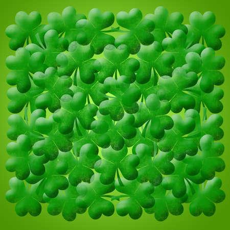 Happy St Patricks Day Shamrock Leaves Background Illustration Stock Photo