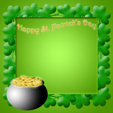 Happy St Patricks Day Pot of Gold Shamrock Leaves Background Illustration illustration