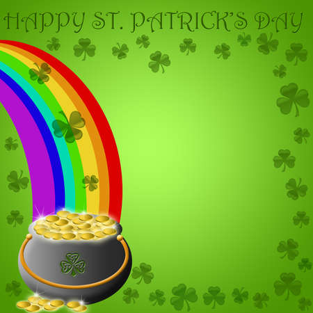 Happy St Patricks Day Pot of Gold End of Rainbow Illustration