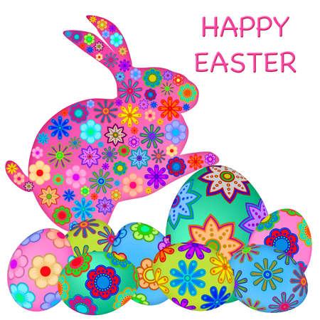 wit konijn: Happy Easter Bunny Rabbit met kleurrijke bloemen eieren illustratie