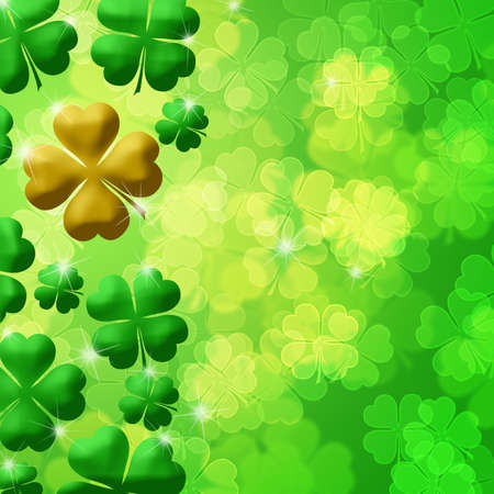 Four Leaf Clover Lucky Irish Shamrock Bokeh Background Illustration