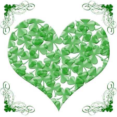 Happy St Patricks Day Heart of Shamrock Leaves Illustration Stock Photo