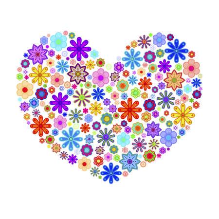 Happy Valentines Day hart met kleurrijke bloemen illustratie Stockfoto