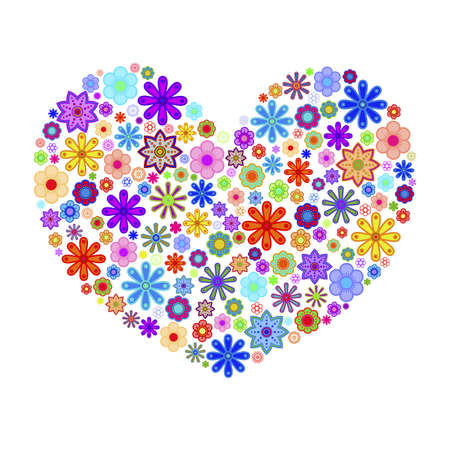 abstract flowers: Happy Valentines Day Heart with Colorful Flowers Illustration