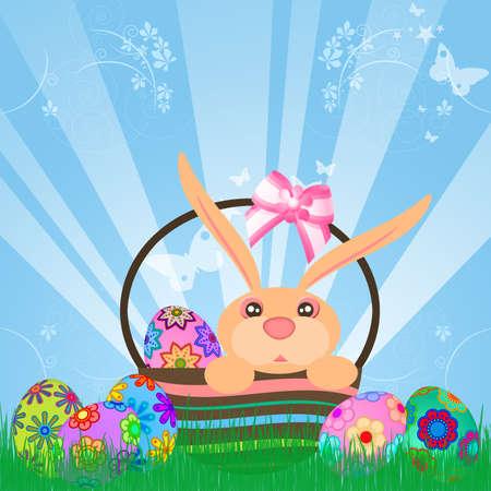 Easter Eggs Bunny Rabbit in Basket Floral Design Sky Rays Grass Illustration illustration