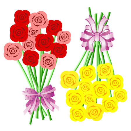 Bouquets of Red Pink Yellow Roses with Bows and Ribbons Illustration