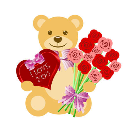 Teddy Bear with Rose Bouquet and Heart Box of Chocolate Illustration illustration