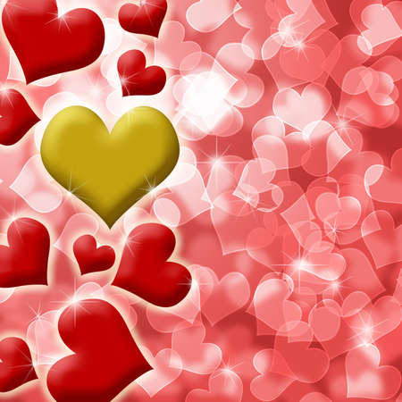 Happy Valentines Day Heart of Gold Blurred Defocused Background Illustration Stock Illustration - 8610569