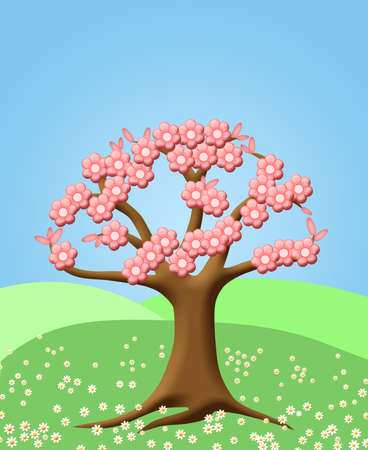 Abstract Tree with Spring Cherry Blossom Flowers Green Pasture Illustration illustration