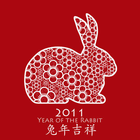 Year of the Rabbit 2011 with Chinese Cherry Blossom Spring Flower Red Illustration illustration