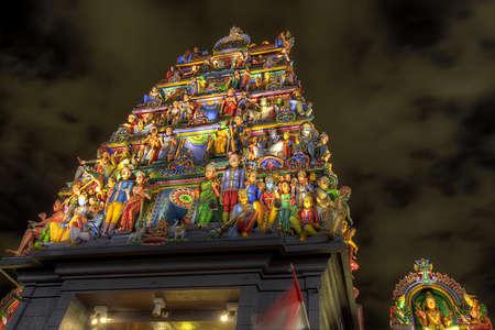 mariamman: Sri Mariamman Hindu Temple Dravidian Style in Singapore at Night  Stock Photo