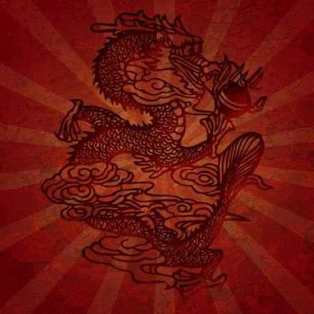 光線 Illustation とアジアの龍グランジ テクスチャをカット紙します。