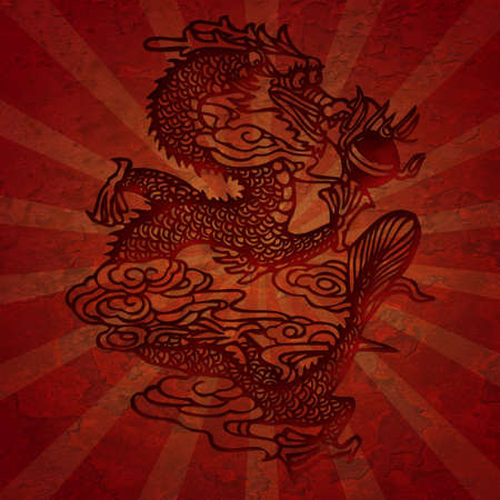 Paper Cutting Asian Dragon Grunge Texture with Rays Illustation
