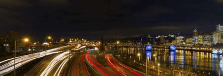 eastbank: Freeway Light Trails in Downtown Portland Oregon Panorama at Night