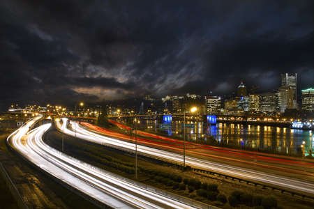 eastbank: Freeway Light Trails in Downtown Portland Oregon at Night 2 Stock Photo