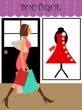fashion illustration: Woman Shopping and Walking in Front of Boutique Store Illustration