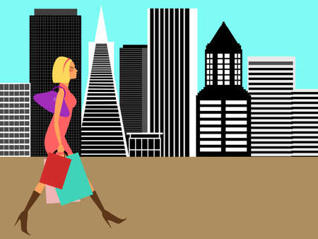 Modern Woman Shopping and Walking in the Big City Illustration illustration