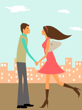 blind girl: Couple in Love Holding Hands in the City Illustration