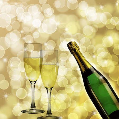 champagne celebration: Champagne Bottle and Two Glasses for Celebration Bokeh Background Illustration
