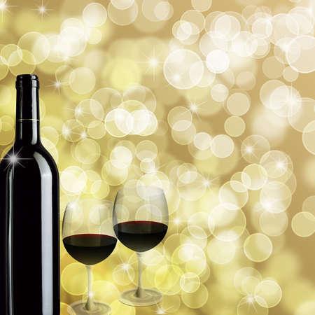Rode wijn fles en twee glazen voor viering Bokeh achtergrond afbeelding Stockfoto