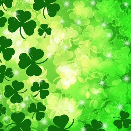 st  patricks: Lucky Irish Shamrock Leaf Bokeh Background Illustration