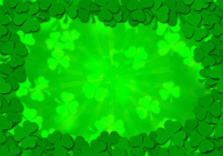 Happy St Patricks Day Shamrock Leaves Border Background Illustration Stock Illustration - 8747218