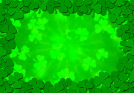 Happy St Patricks Day Shamrock Leaves Border Background Illustration