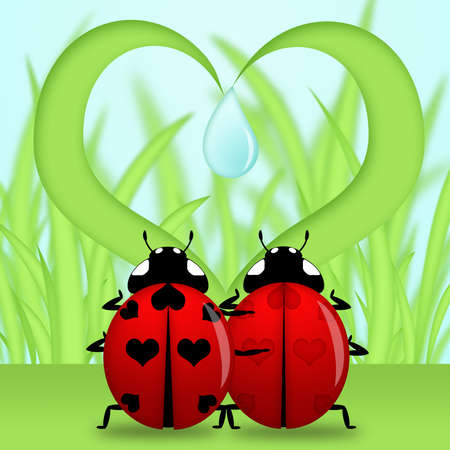 ハート形の草図の下で赤いてんとう虫カップル