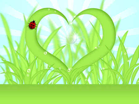 Heart Shape Grass with Water Dew Drops Illustration illustration