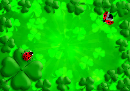 Happy St Patricks Day Shamrock Leaves and Red Ladybugs Illustration
