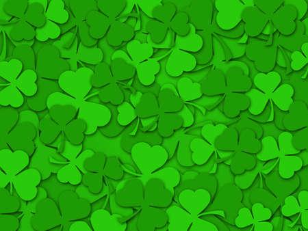 幸せな St Patrick 日緑のシャムロックの葉背景色