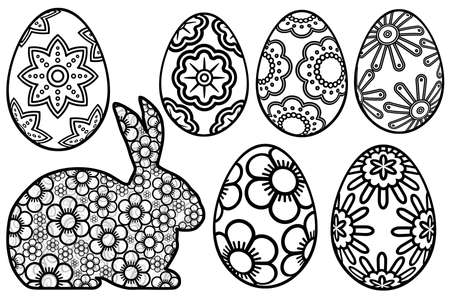 Happy Easter Day Bunny Floral Eggs Paper Cutout Illustration