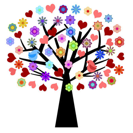 lovebirds: Valentines Day Tree with Love Birds Hearts Flowers Illustration