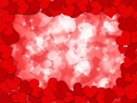 Happy Valentines Day Hearts Border Bokeh Background Illustration illustration