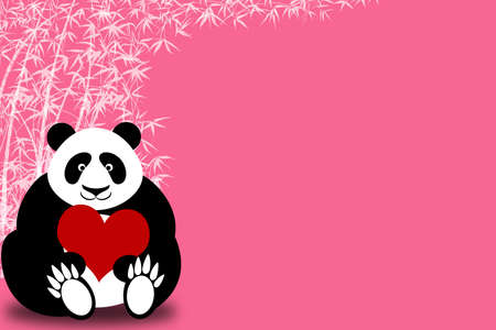 Happy Valentines Day Panda Bear Holding Heart with Bamboo Illustration
