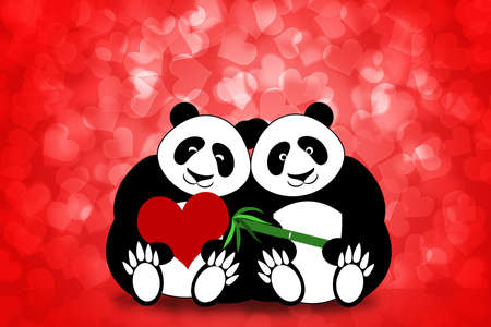 Happy Valentines Day Panda Bear Couple Hearts Bokeh Background Illustration