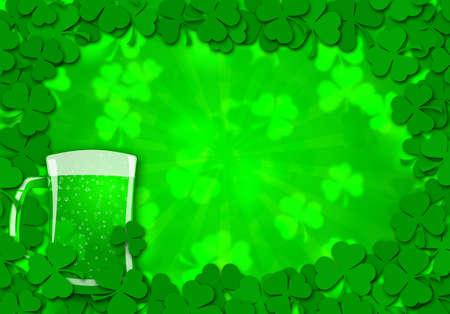 해피 세인트 Patricks 하루 기네스 맥주 유리 배경 그림의 유리 나뭇잎