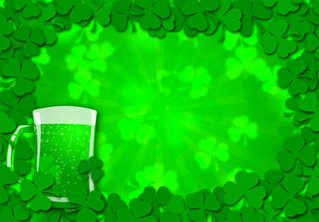 Happy St Patricks Day Shamrock Leaves Glass of Beer Background Illustration illustration