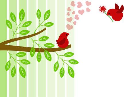 Pair of Red Love Birds for Valentines Day Illustration Standard-Bild