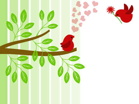 Paar van rode liefde vogels voor de dag van Valentijnskaarten illustratie