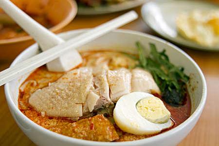 Chicken Curry Noodles at Singapore Hawker Foods Center Reklamní fotografie - 8752248