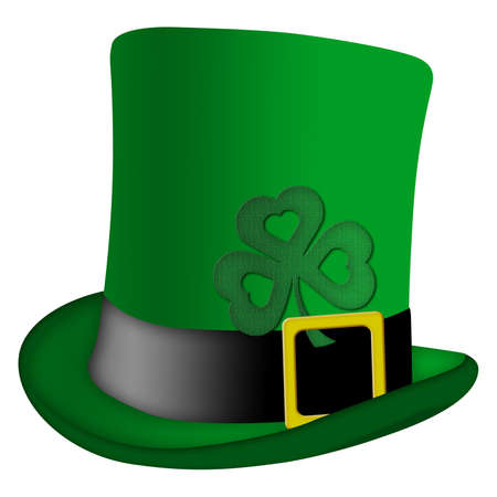 St Patricks Day Leprechaun Irish Green Hat with Shamrock Illustration illustration