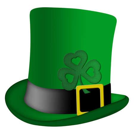 St Patricks Day Leprechaun Irish Green Hat with Shamrock Illustration