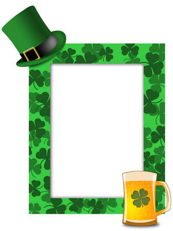 st  patricks: St Patricks Day Leprechaun Green Hat Shamrock Beer Picture Frame Illustration
